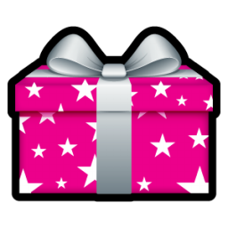 Pink Christmas Gift With Stars Icon Png Clipart Image Iconbug Com