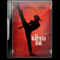 Girl standing in rack of karate. Girl in hat of santa claus standing in  rack of karate.
