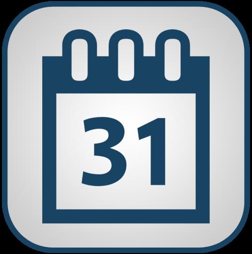 Calendar Icon Png Blue : White tile calendar icon png clipart image iconbug