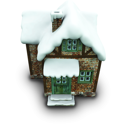 Winter House Icon PNG ClipArt Image