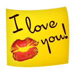 I Love You Note With Kiss Icon Png Clipart Image Iconbug Com