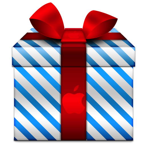 Blue Stripe Christmas Gift With Apple Icon, PNG ClipArt Image ...