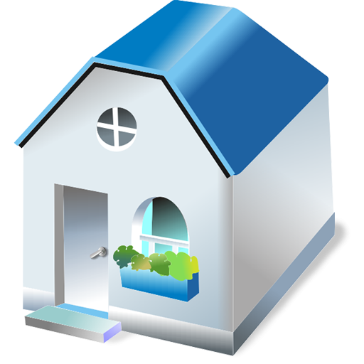 Small White Bungalow Icon PNG ClipArt Image